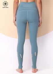 【K1050】褲腿兩側撞色編織瑜伽長褲