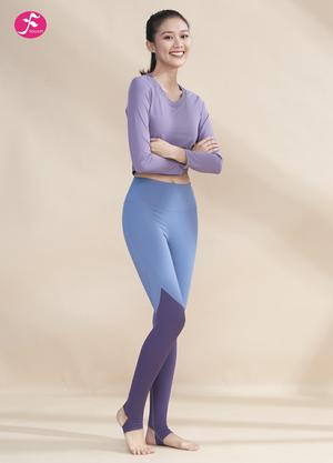 【J1222】松緊拉繩上衣拼接褲子 復古紫+灰藍