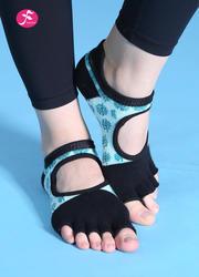 露背防滑瑜伽襪手工刺繡花紋