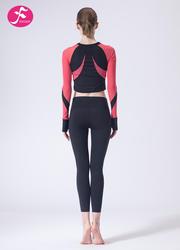 【J1141】秋冬新款專業輕運動小腰精網紗撞色套裝