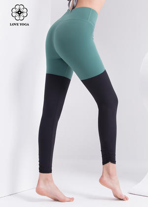 【K1075】撞色拼接+褲腳側邊褶皺設計