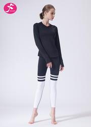 【J1149】一梵秋冬新款時尚暗紋露背條紋拼接套裝