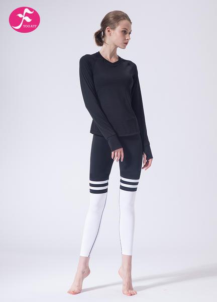【J1149】一梵秋冬新款时尚暗纹露背条纹拼接套装