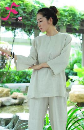 【特批】一梵禪修服4號款   棉綢白色
