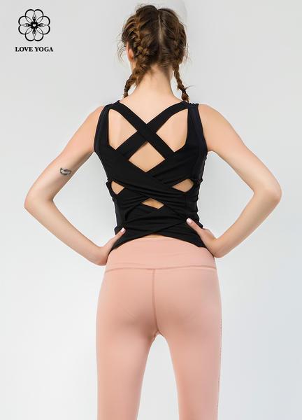 【Y786】背部交叉绑带设计舒适弹性上衣