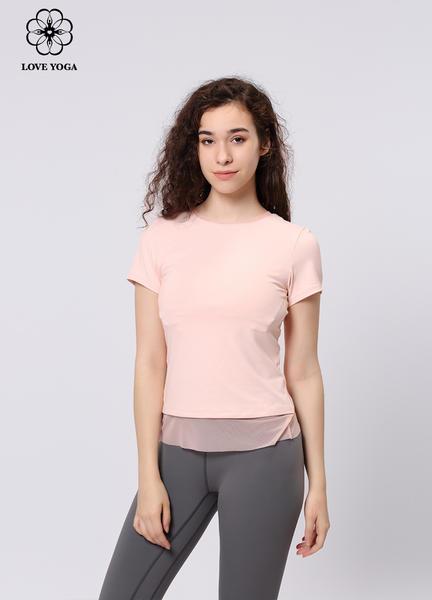 【Y897】夏季新品时尚优雅网纱拼接短袖上衣