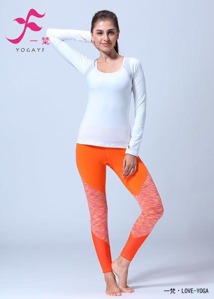 一梵秋冬新品  清爽棉  J892套装 瑜伽服 白色+桔色