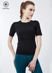 【Y729】塑形網紗拼接透氣舒適 黑色