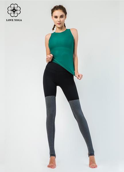 【Y825】螺纹编织半透明透气排汗上衣 木绿色