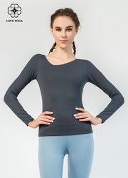 【Y798】塑形彈力圓領舒適速干簡潔大方瑜伽長袖上衣 黑色
