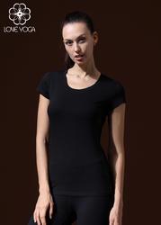 LOVE-YOGA瑜伽短袖T恤 Y376 瑜伽上衣 镂空拼接 黑色