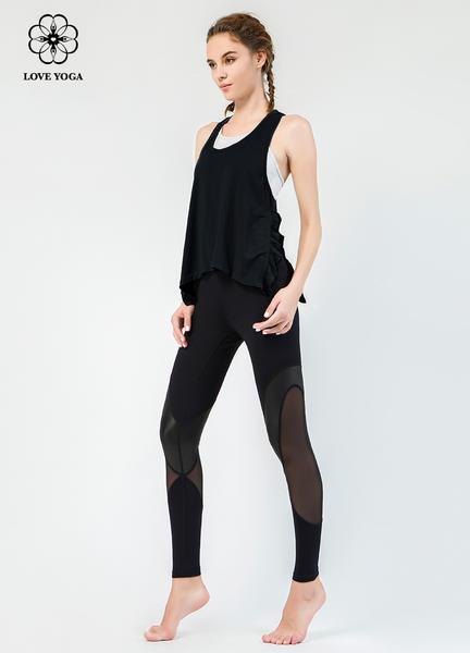 【Y775】新款褶皱开叉边工字肩带支撑罩衫 黑色