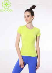 LOVE-YOGA瑜伽服 柠檬黄T恤款Y250单上衣 不支持胸垫