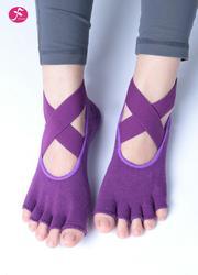 一梵專業防滑綁帶瑜伽襪子 紫色