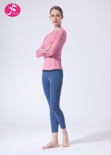 【J1139】秋冬新款V领时尚暗纹露背健身瑜伽套装