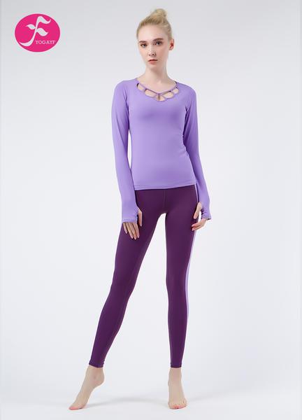 【秋冬新款】J1083 紫色 優雅蓮花套裝