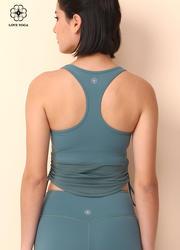 【Y936】下摆网纱拼接侧边心机抽绳设计工字运动背心