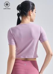 【Y1045】镂空个性剪裁上衣 淡粉紫