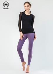 【K959】塑身弹性网纱拼接排汗透气舒适速干 深紫