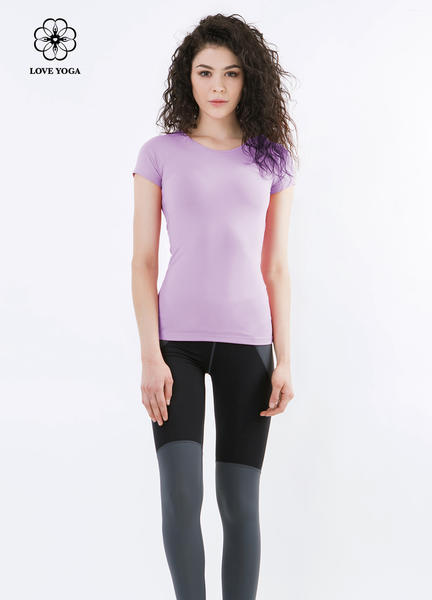 少女气息圆领简约修身短袖上衣—紫色款( Y548)