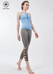 【Y716】新款胸前绑带交叉性感塑形上衣 天蓝色