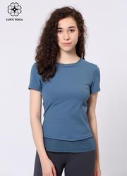 【Y896】夏季时尚优雅网纱拼接短袖上衣