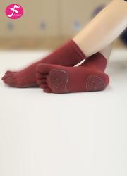 一梵新品秋冬保暖瑜伽袜 酒红