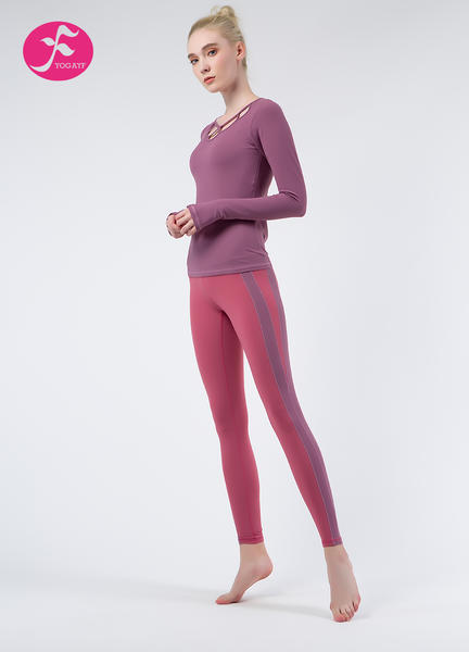 【秋冬新款】J1079 潘紅+紫紅 優雅蓮花套裝