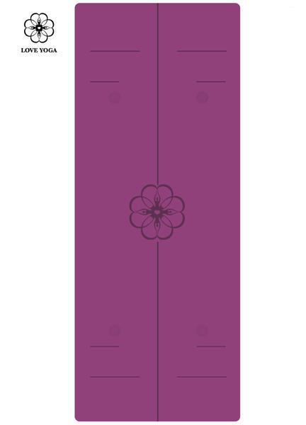天然橡胶PU瑜伽垫(升级版)引导线 紫色