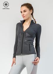 【W454】外套交叉网纱拼接,经典款黑色时尚保暖