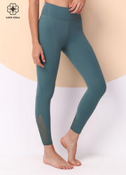 【K1043】立體分割設計褲腳側邊網紗植入運動九分褲