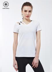 【Y766】新款不对称露肩简洁大气T恤 白色