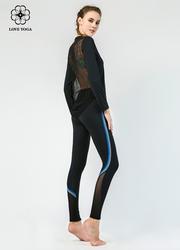 【K962】时尚彩色线条拉长腿部,网纱拼接透气排汗