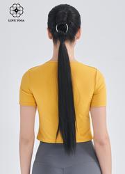 【Y1044】镂空个性剪裁上衣 琥珀黄