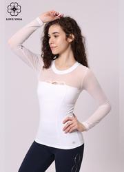 特價長袖    【Y830】網紗拼接領口展現性感美胸長袖 白色