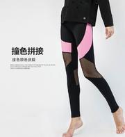 【K975】瑜伽褲 S/M/L現貨撞色兼網紗拼接 彈性修身