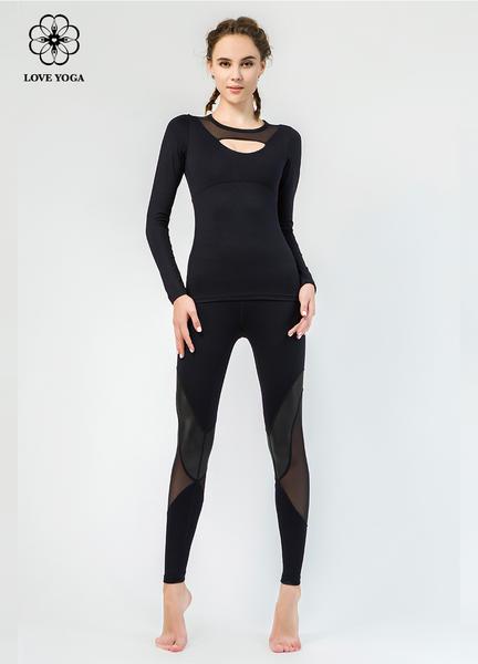 【Y828】網紗拼接領口展現性感美胸 黑色