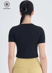 【Y1046】镂空个性剪裁上衣 黑色