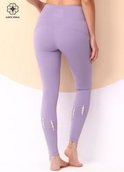 【K1049】褲腿兩側撞色編織瑜伽長褲