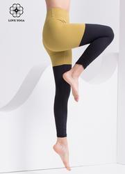 【K1074】撞色拼接+褲腳側邊褶皺設計