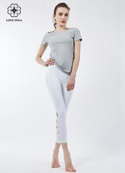 【Y768】新款不对称露肩简洁大气T恤 灰色