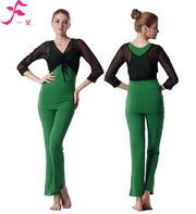 一梵秋冬款 环保棉黑色网纱外披三件套9301绿色