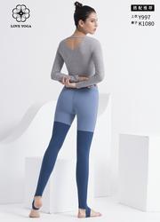 【K1080】love yoga 撞色拼接踩腳褲 灰藍+科技藍
