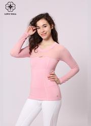 特價長袖    【Y831】網紗拼接領口展現性感美胸長袖 粉色