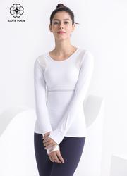 【Y992】袖籠網眼拼接長袖 白色