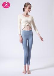 【J1128】一梵秋冬新款小腰精气质收褶露脐瑜伽套装