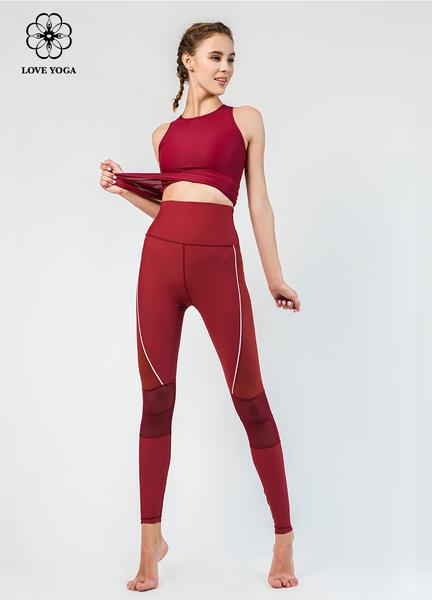【Y826】螺紋編織半透明透氣排汗上衣 棗紅