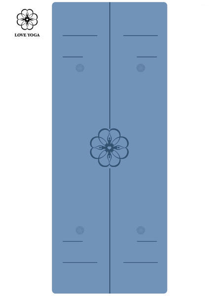 天然橡胶PU瑜伽垫(升级版)引导线 蓝色