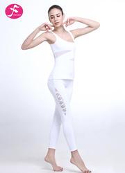 J1095竞技宝测速网网纱拼接透气排汗提臀裁剪 白色