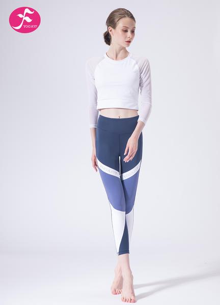 【J1153】一梵秋冬新款小腰精轻运动网纱拼接套装